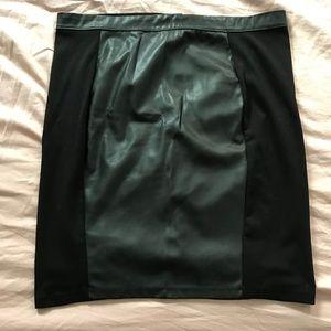 H&M Black Leather/Cotton Pencil Skirt XL